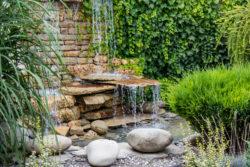 Water fountain in backyard